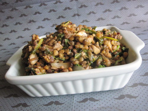 French lentils warm salad with spinach and mushrooms-3