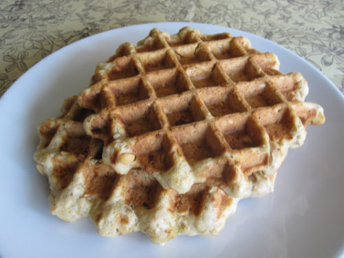 Maple Peanut Banana Bread Waffles