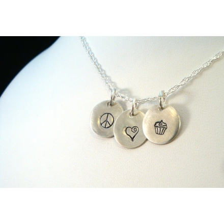 Peace Love Cupcakes Hand Stamped Necklace from Crow Steals Fire