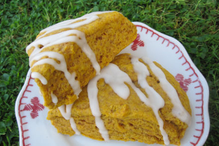 Pumpkin Scones with Maple Nutmeg Icing Recipe #SundaySupper