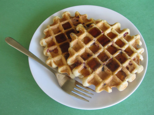 Cranberry Eggnog Waffles Recipe-4