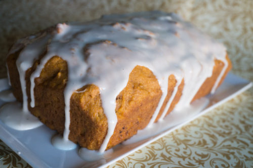 Spiced Pumpkin Bread with Maple Vanilla Icing
