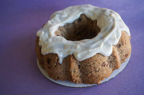 Chocolate Chip Oatmeal Bundt Cake with Cream Cheese Icing-4