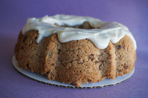 Chocolate Chip Oatmeal Bundt Cake with Cream Cheese Icing